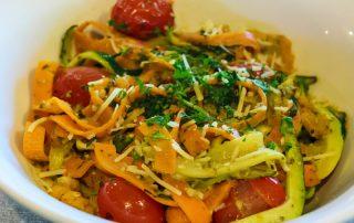 Pesto tomato zucchini pasta