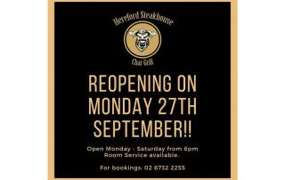 Hereford Steakhouse Char Grill reopening